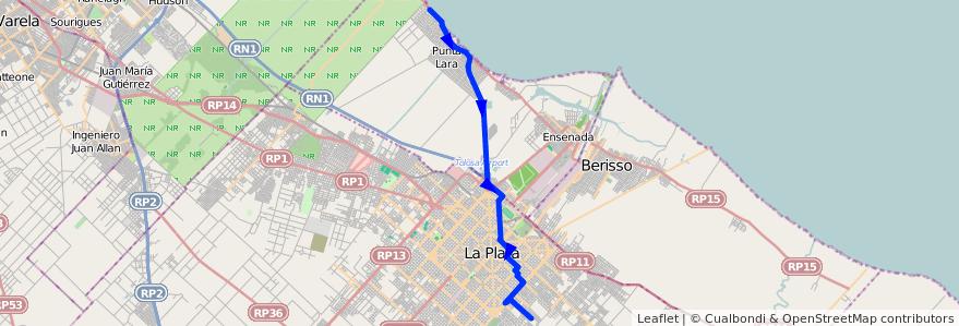 Mapa del recorrido Punta Lara x d74 de la línea 275 en Buenos Aires.