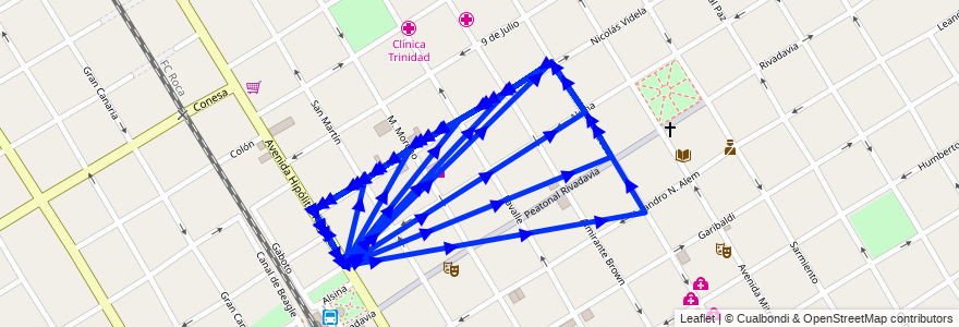 Mapa del recorrido Quilmes-F.Varela de la línea 219 en Quilmes.