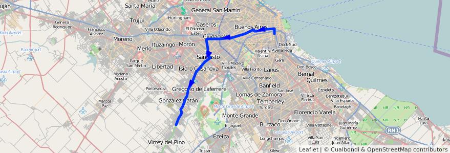 Mapa del recorrido R1 Const.-B. Esperanza de la línea 96 en Argentina.