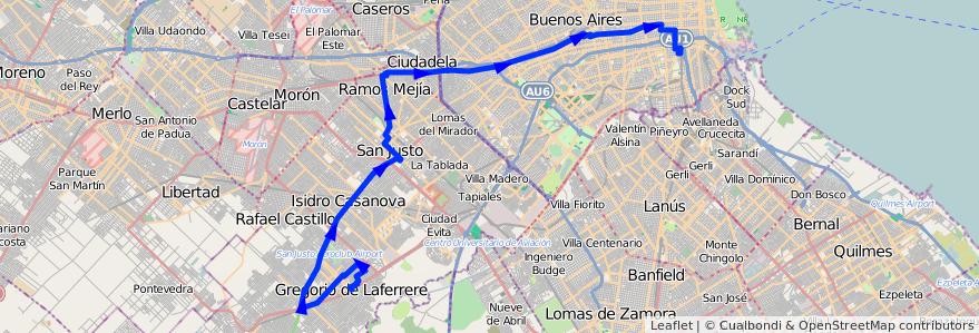 Mapa del recorrido R1 Const.-Laferrere de la línea 96 en Argentina.