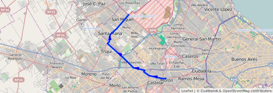 Mapa del recorrido R1 Est.Moron-Est.Lemo de la línea 269 en Buenos Aires.