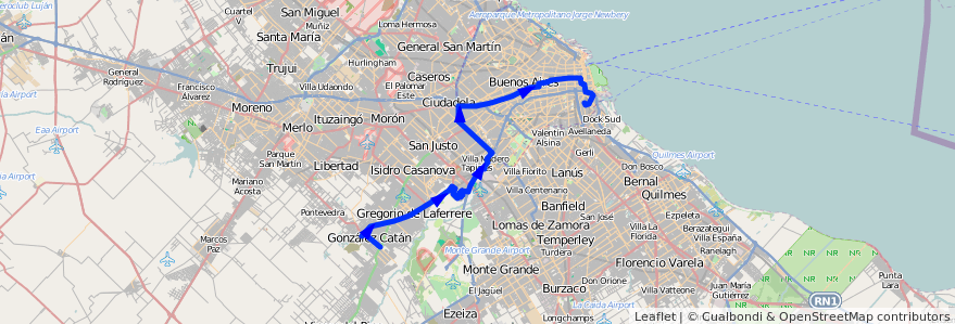 Mapa del recorrido R1 La Boca-G.Catan de la línea 86 en Argentina.