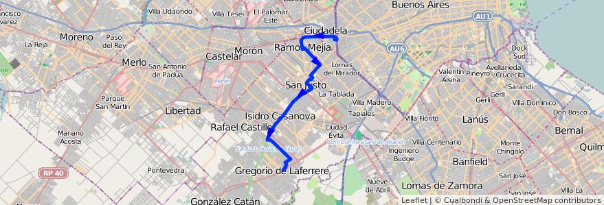 Mapa del recorrido R1 Liniers-Laferrere de la línea 378 en Partido de La Matanza.