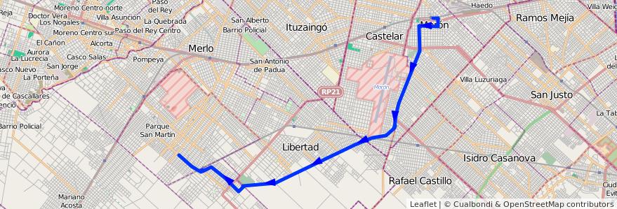 Mapa del recorrido R1 Moron-Matera de la línea 236 en Buenos Aires.