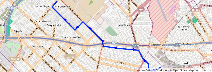 Mapa del recorrido R1 Moron-Udaondo de la línea 441 en Buenos Aires.