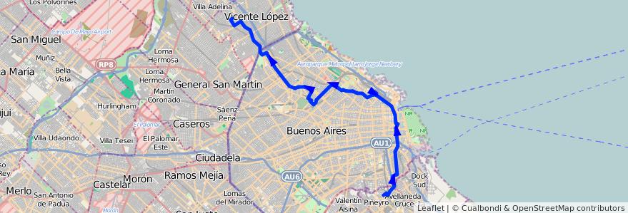 Mapa del recorrido R1 Munro-Avellaneda de la línea 93 en Argentina.