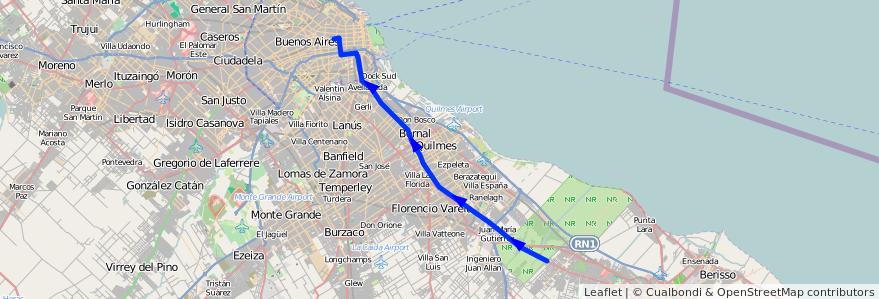 Mapa del recorrido R1 Once-La Plata de la línea 129 en Buenos Aires.