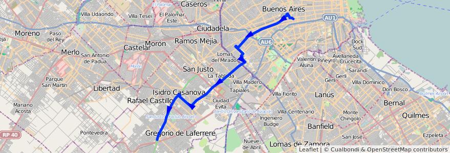 Mapa del recorrido R1 Pra.Junta-G.Catan de la línea 180 en Argentina.