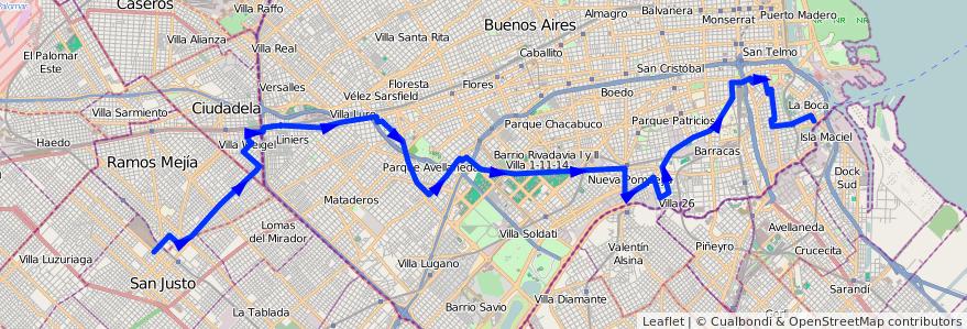 Mapa del recorrido R1 San Justo-La Boca de la línea 46 en Buenos Aires.