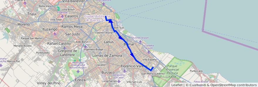 Mapa del recorrido R10 Const.-Bº Maritim de la línea 129 en Argentina.