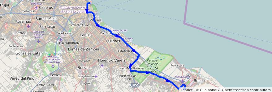 Mapa del recorrido R11 Retiro-La Plata de la línea 129 en Buenos Aires.