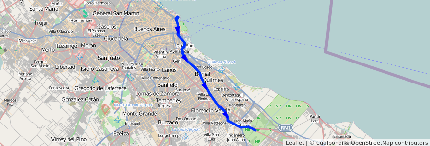 Mapa del recorrido R12 Retiro-La Plata de la línea 129 en Buenos Aires.