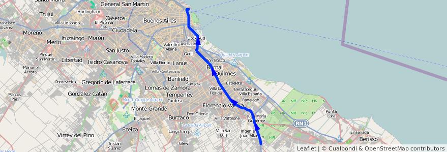 Mapa del recorrido R13 Retiro-La Plata de la línea 129 en Buenos Aires.
