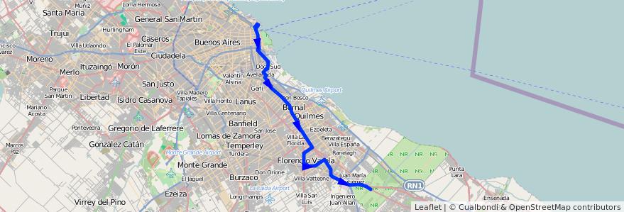 Mapa del recorrido R15 Retiro-F.Varela de la línea 129 en Buenos Aires.