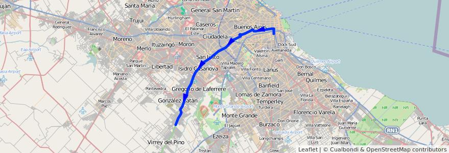 Mapa del recorrido R2 Const.-B. Esperanza de la línea 96 en Argentina.