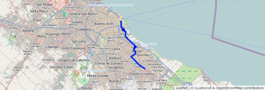 Mapa del recorrido R2 Correo-Berazategui de la línea 159 en Buenos Aires.