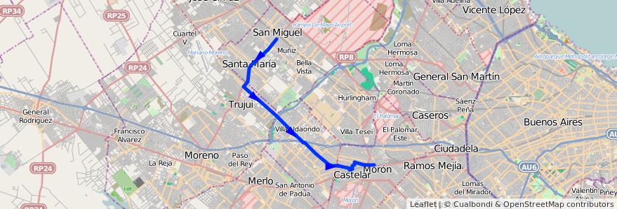 Mapa del recorrido R2 Est.Moron-Est.Lemo de la línea 269 en Buenos Aires.