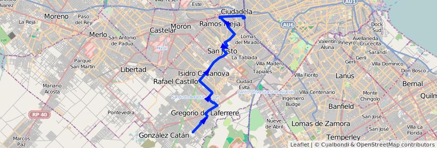 Mapa del recorrido R2 Liniers-Laferrere de la línea 378 en Partido de La Matanza.