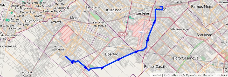 Mapa del recorrido R2 Moron-Matera de la línea 236 en Buenos Aires.