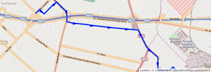 Mapa del recorrido R2 Moron-Udaondo de la línea 441 en Buenos Aires.