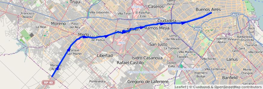 Mapa del recorrido R2 Pra.Junta-Las Hera de la línea 136 en Argentina.
