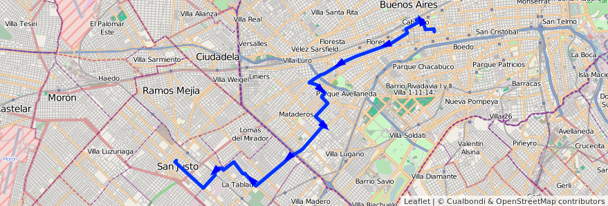Mapa del recorrido R2 Pra.Junta-San Just de la línea 180 en Argentina.