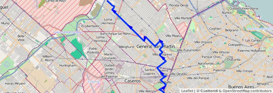 Mapa del recorrido R2 V.Lanzone-Ciudadel de la línea 237 en Buenos Aires.
