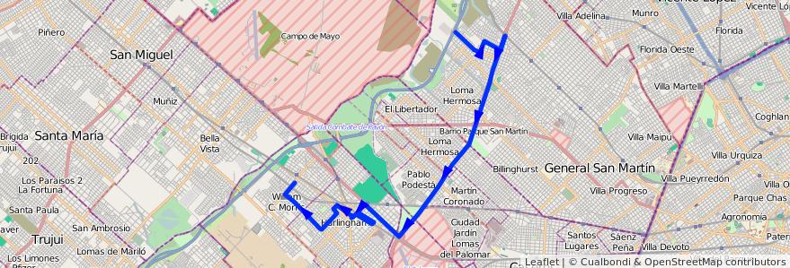 Mapa del recorrido R2 V.Lanzone-Est.Morr de la línea 237 en Buenos Aires.