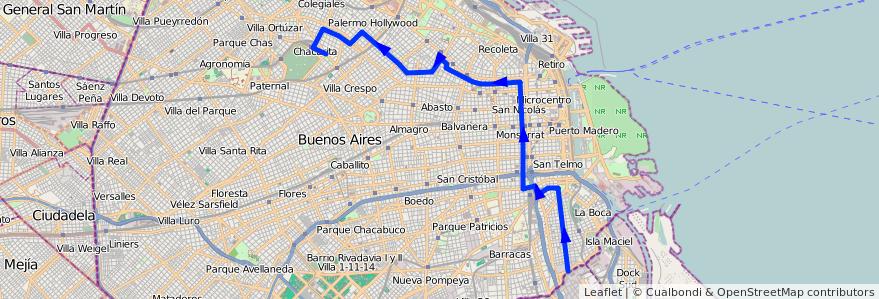 Mapa del recorrido Ramal 3 x Palermo Hollywood de la línea 39 en Ciudad Autónoma de Buenos Aires.