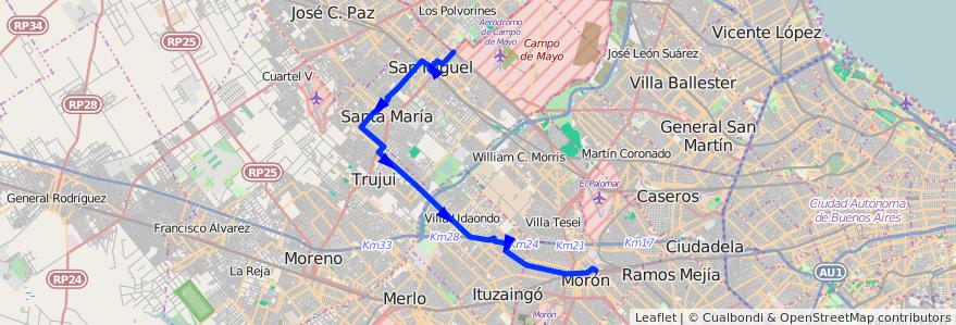 Mapa del recorrido R3 Est.Moron-Est.Lemo de la línea 269 en Buenos Aires.