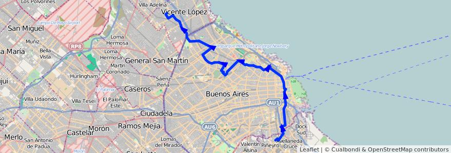 Mapa del recorrido R3 Munro-Avellaneda de la línea 93 en Ciudad Autónoma de Buenos Aires.
