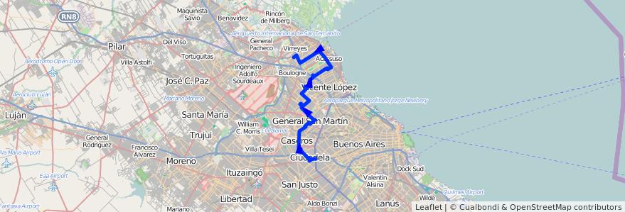 Mapa del recorrido R304 Liniers-S.Isidro de la línea 343 en Buenos Aires.