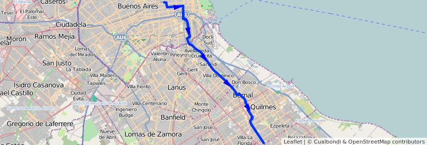 Mapa del recorrido R4 Once-V.Espana de la línea 98 en Argentina.