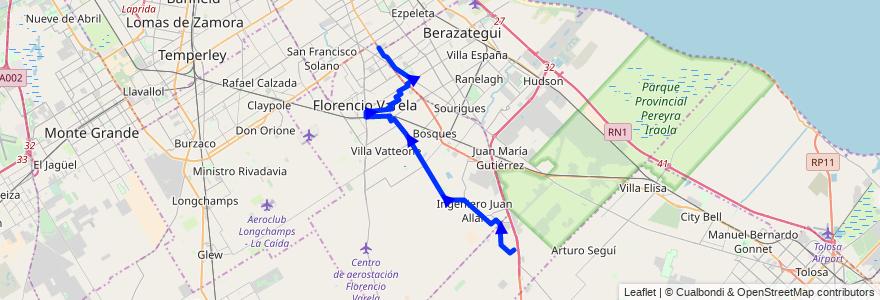 Mapa del recorrido Ramal 2 - El Pato - El Cruce de la línea 324 en Partido de Florencio Varela.
