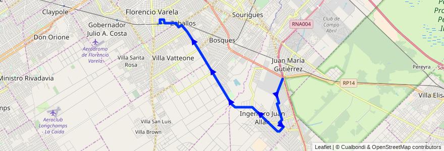 Mapa del recorrido Ramal 2 - Rotonda de Alpargatas - Florencio Varela de la línea 324 en Partido de Florencio Varela.