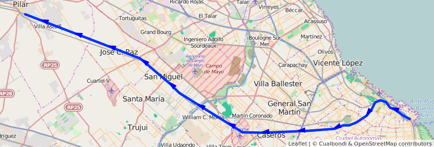 Mapa del recorrido Retiro-Pilar de la línea Ferrocarril General San Martin en Argentina.