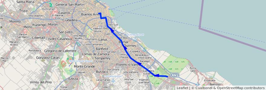 Mapa del recorrido RO Once-La Plata de la línea 129 en Buenos Aires.