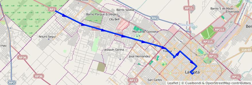 Mapa del recorrido Rondin 4 de la línea 273 en Partido de La Plata.