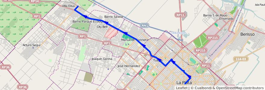 Mapa del recorrido Rondin 6 de la línea 273 en Partido de La Plata.