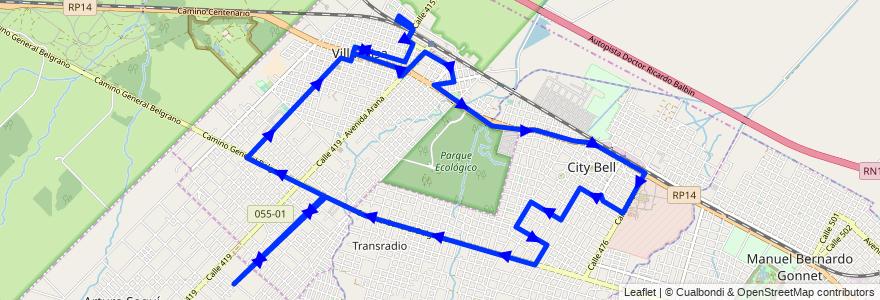 Mapa del recorrido Rondin B° Jardín de la línea 273 en Partido de La Plata.