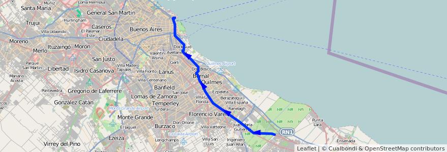 Mapa del recorrido RR Retiro-La Plata de la línea 129 en Buenos Aires.