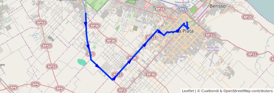 Mapa del recorrido Ruta 2 de la línea 215 en Partido de La Plata.