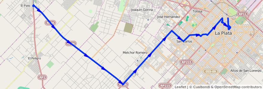 Mapa del recorrido Ruta 36 de la línea 215 en Partido de La Plata.