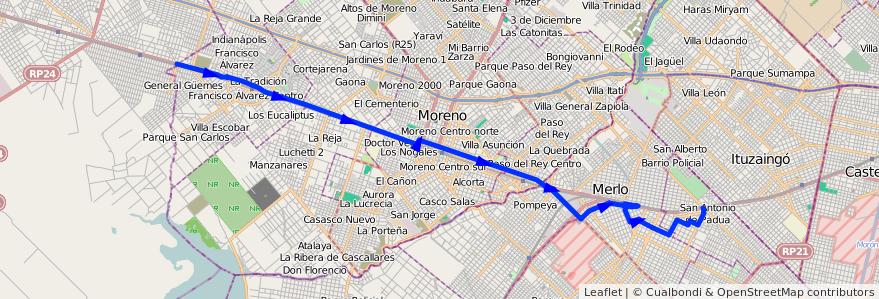 Mapa del recorrido S.A.de Padua-B. Güeme de la línea 327 en Buenos Aires.