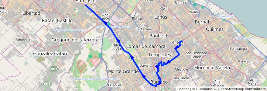 Mapa del recorrido San Justo-Est.Pasco de la línea 406 en Buenos Aires.