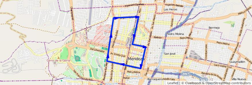 Mapa del recorrido T1 - Parque de la línea G12 en Ciudad de Mendoza.
