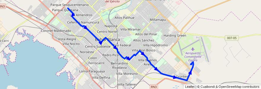 Mapa del recorrido troncal de la línea 517 en Partido de Bahía Blanca.