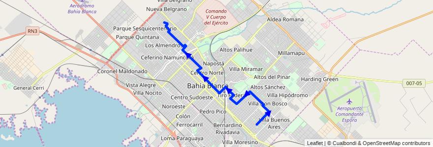 Mapa del recorrido troncal de la línea 516 en Bahía Blanca.