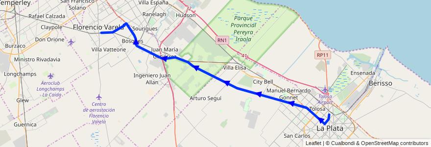 Mapa del recorrido Troncal de la línea 414 en Buenos Aires.
