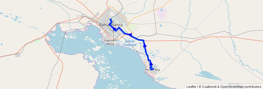 Mapa del recorrido troncal de la línea 319 en Buenos Aires.